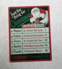 """Coleman Lantern Lamp Christmas Advertising Retro Metal Sign 9x12"""" 50026"""
