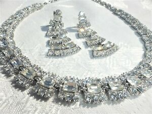 GORGEOUS Large Vintage Clear RHINESTONE NECKLACE Earring Set by BOGOFF