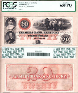18__'s $20 Farmers Bank of Kentucky (Remainder) PCGS GEM NEW65 PPQ.