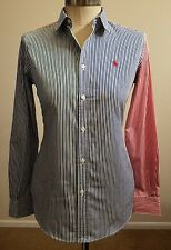 POLO RALPH LAUREN WOMENS LONG SLEEVE PONY LOGO STRIPED SHIRT SIZE 10 THESPOT917