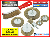 HEAVY DUTY 7PC DRILL WIRE WHEEL CUP FLAT BRUSH CLEANING SANDING SET F3610
