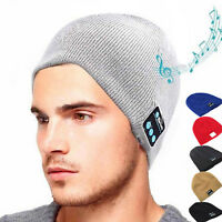 Men Smart Wireless Bluetooth Music Warm Knitted Beanie Hat Headphones Cap N9