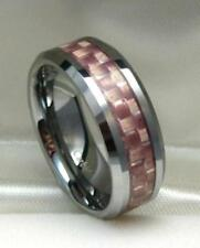 Men 8mm TUNGSTEN CARBIDE ring with Pink Carbon Fiber size 10
