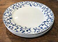ONEIDA BLUE TOILE MAJESTICWARE SET OF 3 DINNER PLATES BLUE FLOWERS ON WHITE EUC
