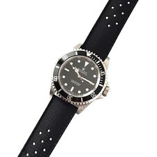 20mm New Vintage Tropic Style Black Rubber Perforated Watch Strap Band