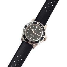 20 mm Nuovo stile Vintage TROPIC Nero in Gomma perforato cinturino orologio band