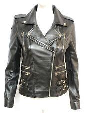 Loreal Womens Ladies Black West Designer Celebrity Fashion Model Leather Jacket
