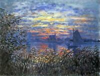 Sunset on the Seine by Claude Monet Fine Art Print on CANVAS Wall Decor 8x10