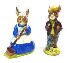 Royal Doulton Mr Bunnykins Autumn Days & Clean Sweep Lot of 2 Figurines