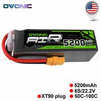 OVONIC 5200mAh 6S 22.2V 50C Lipo Battery Pack XT90 for RC Car Buggy Heli Quad