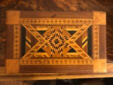 Vintage Folk Art & Marquetry box Jewelry Box Ornate Art Deco Two Tone With Key