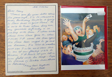BERYL COOK PRINT = VERY RARE SIGNED AUTOGRAPH CARD ART LETTER= BIRTHDAY SURPRISE