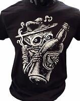 Smoking Skeleton T-Shirt Goth rock punk horror skater skull alcohol grunge drawn
