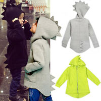 Kids Boys Girls Dinosaur Hoodies Coat Zipper Hooded Jacket Outwear Sweatshirt