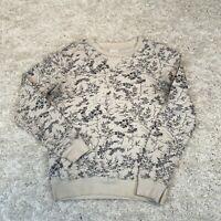 VINTAGE Zara Mens Sweatshirt Small White Plants Graphic Jumper