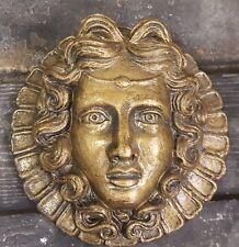 Vintage Greek Roman Female Face Wall Plaque Sculpture