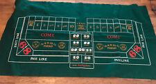 LARGE SIZE BLACK JACK / CRAPS TABLE FELT - 70X 37 DOUBLE SIDED