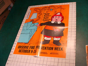 Original 1970's Fire Prevention Week Poster: ART by Stan Stamaty Couch on fire