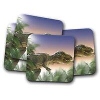 4 Set - T-Rex Dinosaur Drinks Coaster - Kids Jurassic Cool Boys Cool Gift #8517