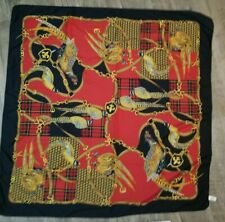 Symphony Scarf Red Black Italian Wrap Pheasant Birds Gold Plaid Square