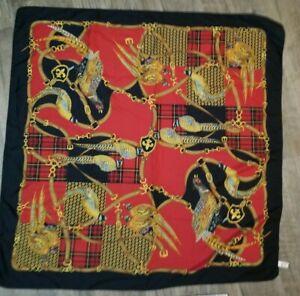 Symphony Scarf Red Black Italian Wrap Pheasant Birds Gold Plaid Square Vintage