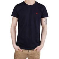 T-Shirt Uomo Maglia Mezza Manica Girocollo Casual Blu Uccellino Rosso Cotone