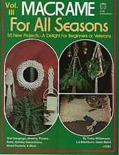 55 Projects in Macrame for All Seasons III Patterns Craft Instructions Book 7281