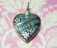 Vintage Puffy Heart Charm Sterling Silver I Love You