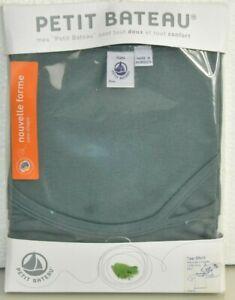 NEW Petit Bateau Tee Shirt Long Sleeve Cotton Green Grey Top Bow 14 A S