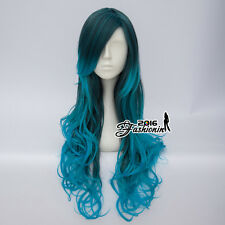 80CM Mixed Blue Ombre Lolita Long Curly Women Cosplay Hair Wig Heat Resistant