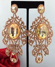 Chic Large Pageant Queen Prom Rose Crystal Chandelier Pierced Earrings Rose Tone