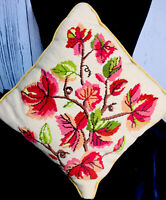 "Pillow Needlepoint Vintage Fall Leaves Multi Color14x14"" Collectible Handmade"