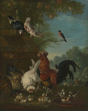 Domestic cock, hens, and chicks in a park Pieter Casteels III Vögel B A3 03126
