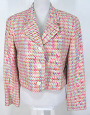 """Doncaster Jacket Sz 8 Womens Cropped Colorful Woven Silk Blend """"Tweed"""" Blazer"""