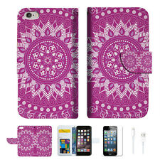 Purple AZTEC TRIBAL Wallet  Case Cover For Apple iPhone 6 6S -- A003