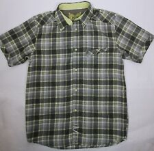 Prana Mens Size Large Short Sleeve Button Front Shirt Gray Yellow Plaid Check
