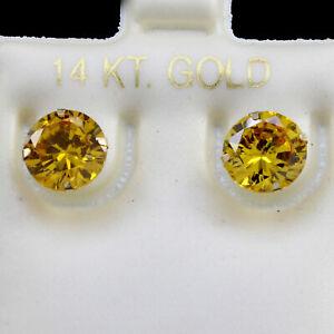 Round Cut Topaz November Birthstone Stud Earrings 8mm 14K Yellow Gold