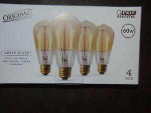 FEIT ELECTRIC ORIGINAL VINTAGE STYLE LIGHTBULBS - 4 PACK - 60W - AMBER GLASS