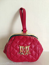NEW LOVE MOSCHINO RED CLUTCH BAG SMALL WRISTLET + DUST BAG GIFT