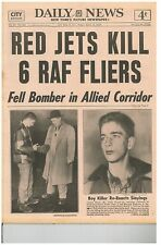 DAILY NEWS 1953 March 13 RED JETS KILL 6 RAF FLIERS - MASON MARCIANO REINAUER