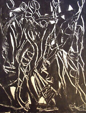 BLACK AND WHITE FIGURAL HARMONY ABSTRACT PAINTING KARL SCHWARTZ NYC OIL SIGNED