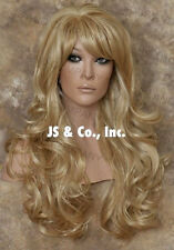 Extra LONG HUMAN HAIR Blend Full Wig curly Heat OK Golden Blonde Mix WBNY 24-613