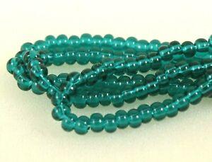 "Czech Glass Seed Beads Size 6/0 "" EMERALD "" Strands"
