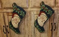Set of 2 Needlepoint Christmas Stockings Santa Face St Nicholas Detailed EUC