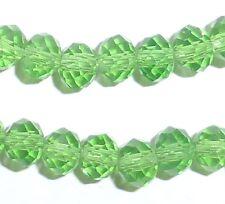Glass Beads - Faceted Suncatcher - Green - 10mm x 8mm/1mm hole - 30 beads