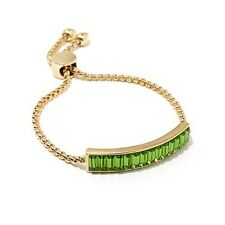 INSTYLE JEWELRY BAGUETTE ABOUT IT GOLDTONE GREEN CRYSTAL ADJUSTABLE BRACELET HSN