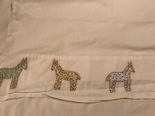 """The Company Store White Flat Bed Sheet Embroidered Floral Horses Twin 66"""" x 96"""""""