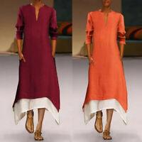 Fashion Women Casual Loose Long Sleeve Cotton Linen V Neck A-Lin Maxi Dress HQY