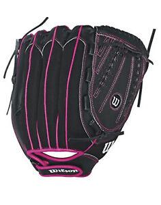 "NEW Wilson Flash Baseball Glove Black/Hot Pink 12"" Right Hand Throw"