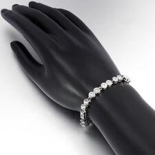 "Womens 14K White Gold Plated Diamond Created Link Tennis Bracelet 7.5"""